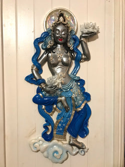 goddess floating wall art silver & blue