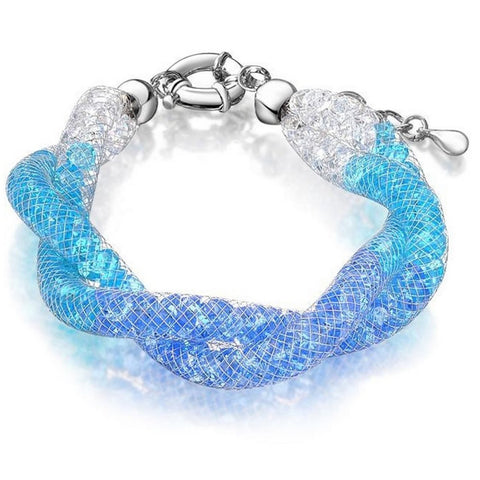 Allie Blue Crystal Filled Twist Mesh Bracelet - Bella Krystal