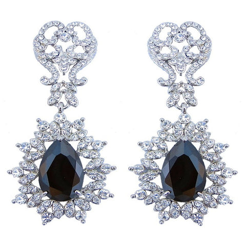 Ximena Onyx Crystal Princess Drop Earrings - Bella Krystal