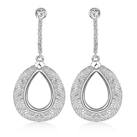 Angel Crystal Filled Mesh Drop Earrings - Bella Krystal