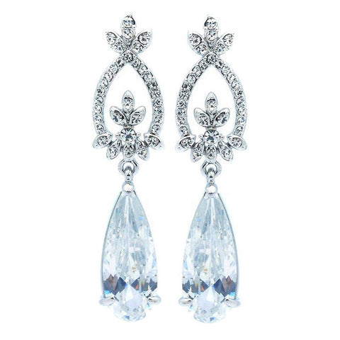 Lily Elegant Chandelier Tear Drop Earrings - Bella Krystal