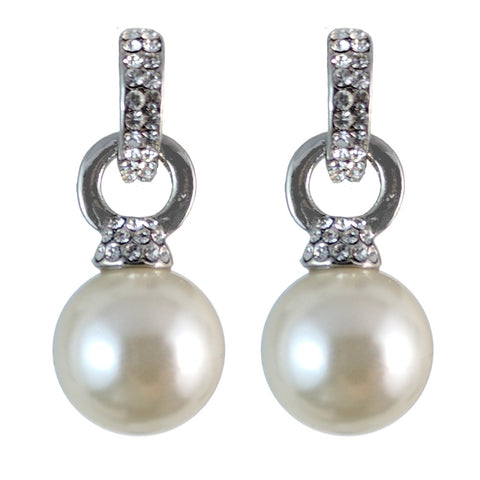 McKenna Crystal Hoop Pearl Drop Earrings - Bella Krystal