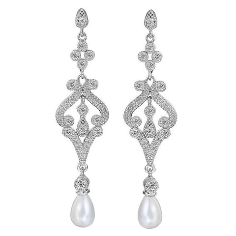 Callie Crystal & Pearl Drop Earrings - Bella Krystal