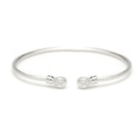 Katie Crystal Tear Drop Ended Bangle - Bella Krystal
