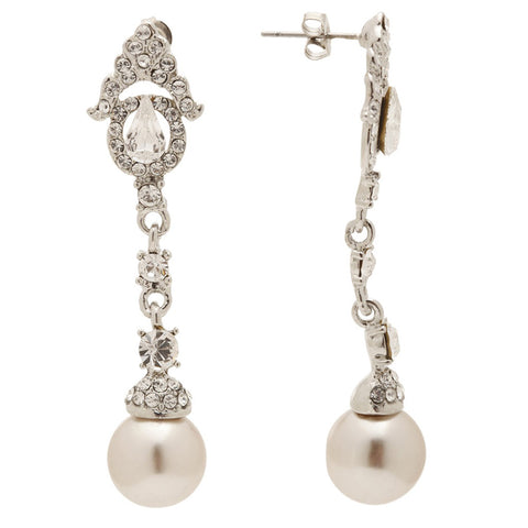 Sofia Elegant Chandelier Champagne Pearl Drop Earrings - Bella Krystal