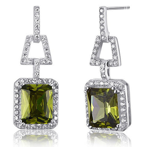 Jessica Olive Crystal Sterling Silver Elegant Vintage Earrings - Bella Krystal
