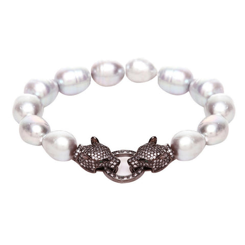 Alicia Crystal Tiger & Grey Fresh Water Pearl Bracelet - Bella Krystal