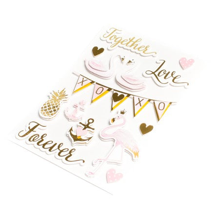 14 stickers amour rose et or