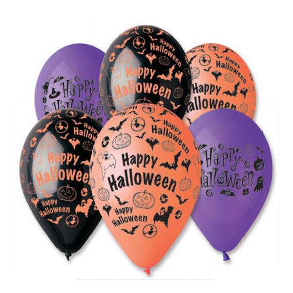 Ballon halloween par 6 - noir /orange / violet