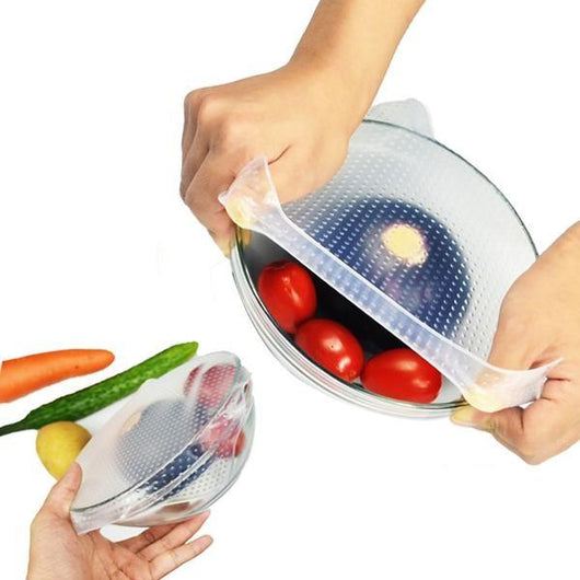 ( 4 PCS SET ) REUSABLE SILICONE FOOD WRAPS