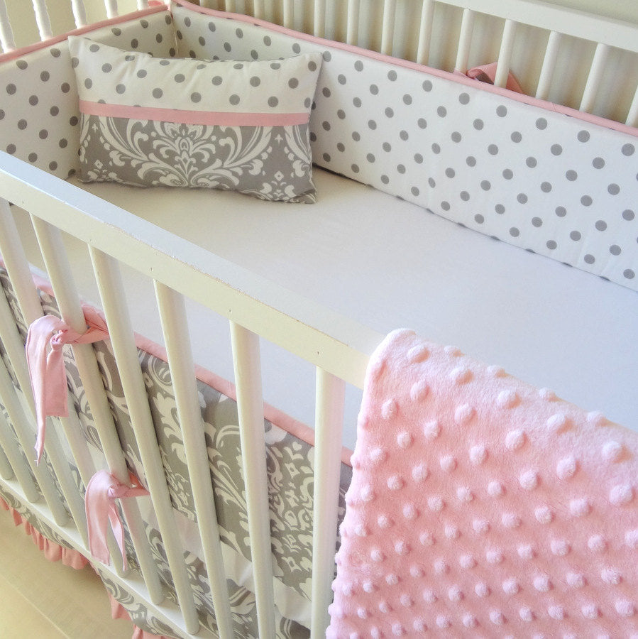 Pink and Gray Damask Crib baby bedding set