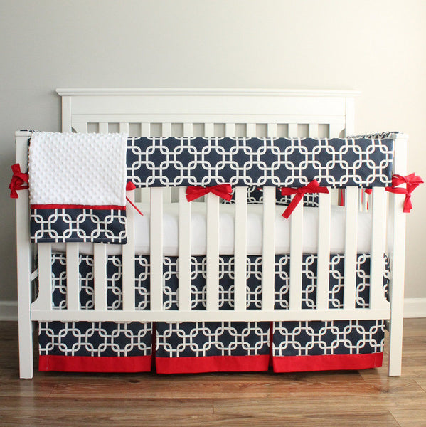 Navy Blue and Red Crib Rail Bedding Set