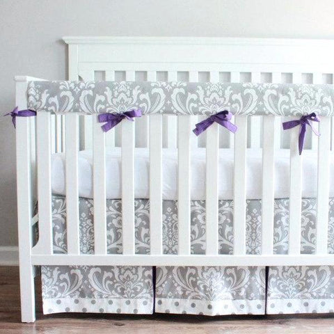 Gray & Purple Damask Crib Rail Bedding set.