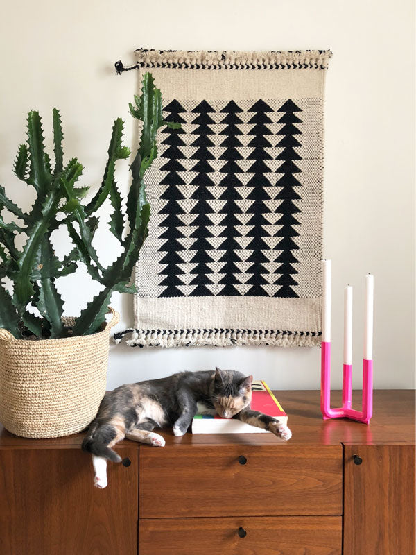 Geometric black and white rug and wall hanging. Handwoven wool area rug.