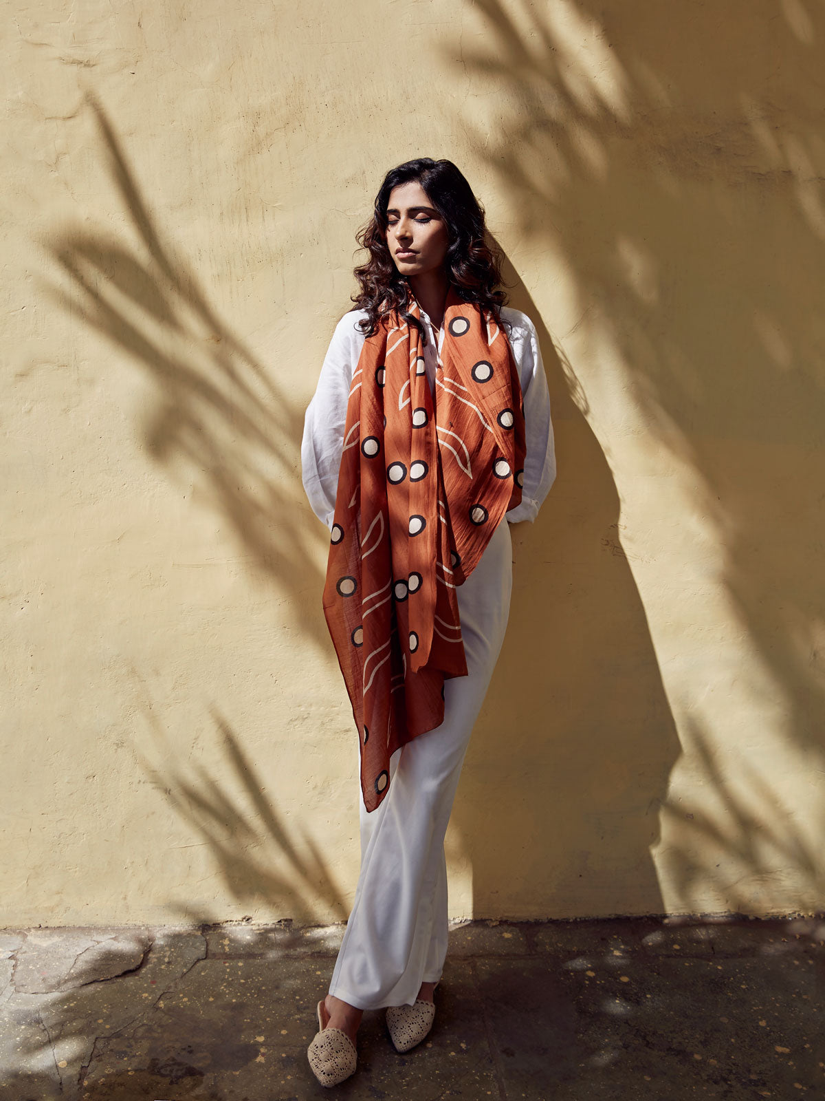 Warm chestnut brown silk cotton blend scarf. Hand block printed with discharge and natural black dye.