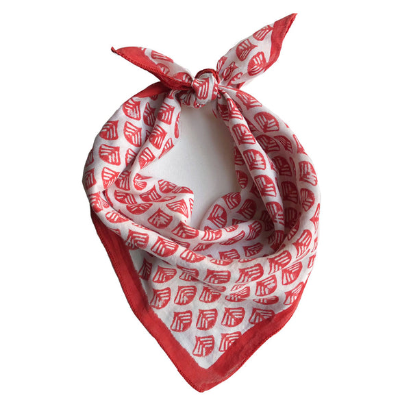 The softest bandana scarf around! Hand block printed in Bagru, India by master printers using non toxic dyes. The vibrant scarlet color is flattering on everyone! Scarves for women, Printed on a super soft silk cotton blend.