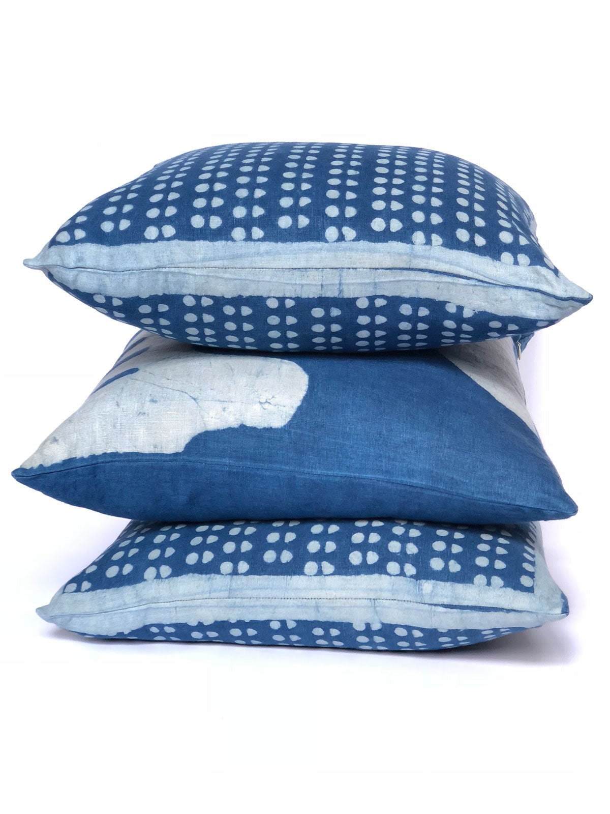 natural indigo dyed navy blue decorative couch throw pillow covers, with geometric abstract polka dot pattern