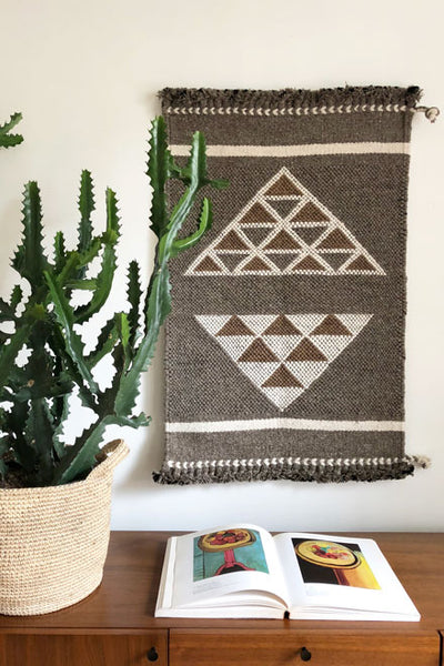 Handwoven gray, brown and white wool area rug/ wall hanging 100%. Perfect for the kitchen floor or above a credenza as a neutral yet bold statement piece.