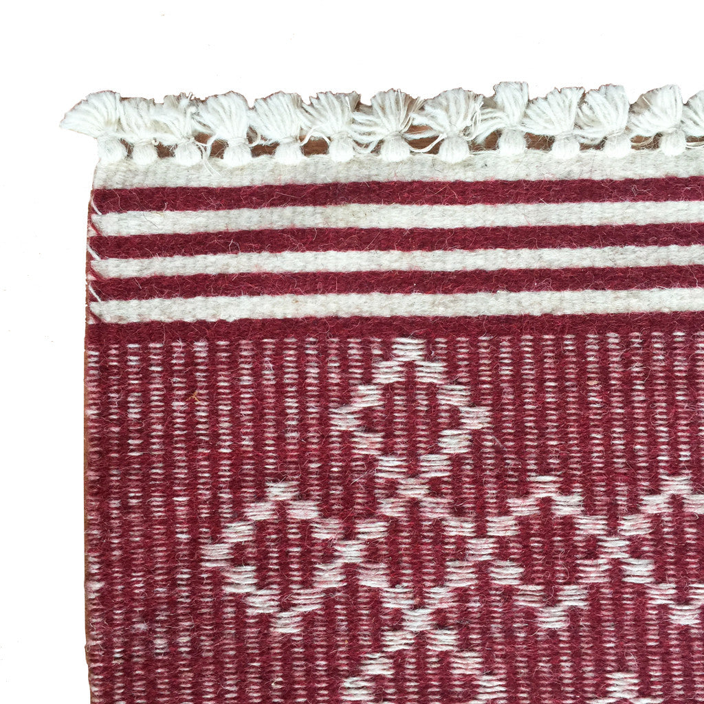 SUNDAY/MONDAY Handwoven Indian 100% Wool Rug Textile, Kuran, made in Kutch, Gujarat. Red flatweave statement rug.