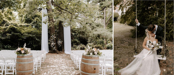 The Kelly's were married at Gracewood Estates in Niagara-On-The-Lake. Left image is their ceremony set up. Right image is Megan on a swing and Andrew kissing her on their wedding day.
