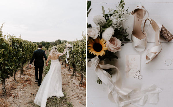 Left Image, Andrew and Megan hand-in-hand at Gracewood Estates Vineyard walking amongst the grape vines. Right image, a flat-lay of Megan's wedding shoes, bouquet, wedding rings and invitation suite.