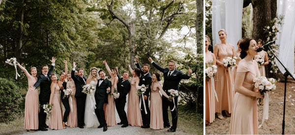 Left Image, the wedding party stands together hands in the air, celebrating. Bridesmaids are wearing Henkaa Sakura Maxi infinity dresses in Champagne Nude. Right image, Megans bridesmaid sings during the ceremony.