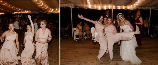 Left Image, Megan's bridesmaids dance together in Henkaa Sakura Maxi convertible bridesmaid dresses. Made with a 4-way-stretch blend these are dresses you can move in!