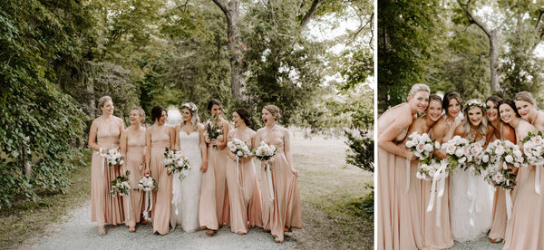 Megan and her birdal party share some intimate moments. Bridesmaids are wearing Henkaa Sakura Maxi convertible dresses in the colour Champagne Nude.