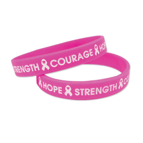 "Silicone Wristbands Color Fill Debossed 1/2"" Hope Design - Hot Pink (100/Pack) - Wristbands.com"