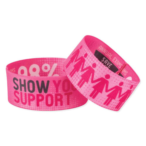 "Woven Wristbands Polyester/Nylon 1"" Full Color, Dual Sided, Show Your Support Design - Pink (50/Pack)"