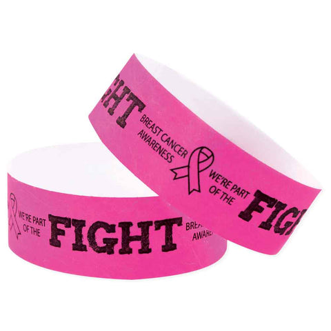 "Speedi-Band® Expressions Tyvek 1"" Fight Like A Girl Design Wristbands TENSWF - Day Glow Pink - 10/Sheet - Wristbands.com"