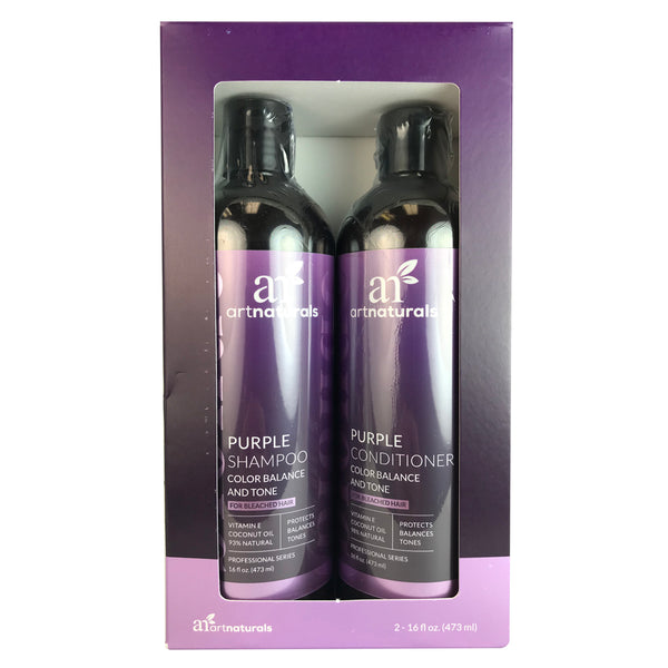 Artnaturals Purple Shampoo & Conditioner Duo each for Bleached Hair 16 oz.