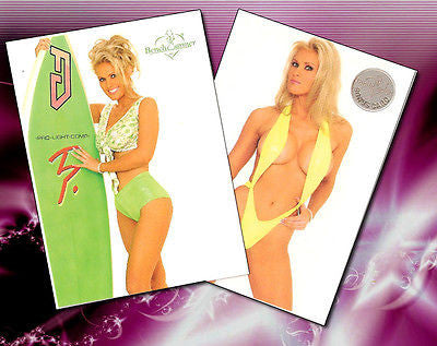 Darcy Donavan Celebrity Trading Card Lot 73 & 45- Autographed Benchwarmer Cards with Certificates of Authenticity and 8x10 Photo