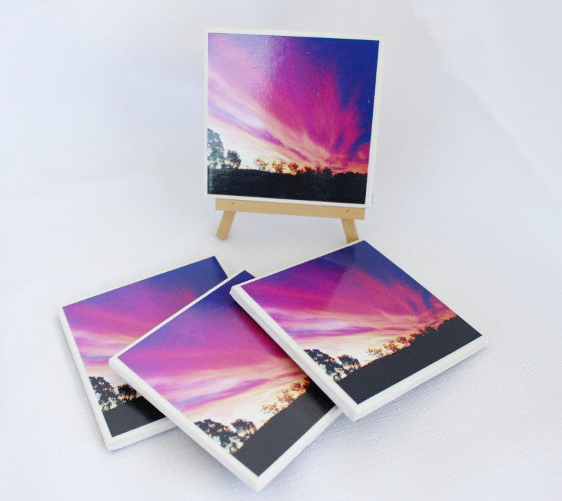 Photography by Nardia Grant (Purple sunset) - Set of 4