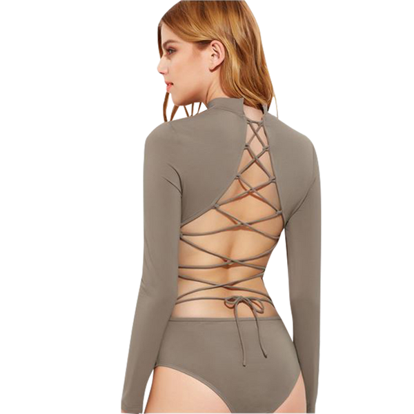 Open Back Body Suit w/ Lacing