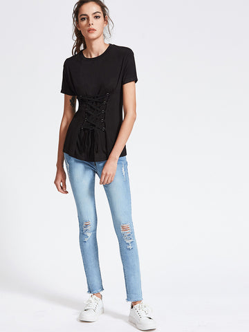 Black Lace Up Front Short Sleeve T-shirt
