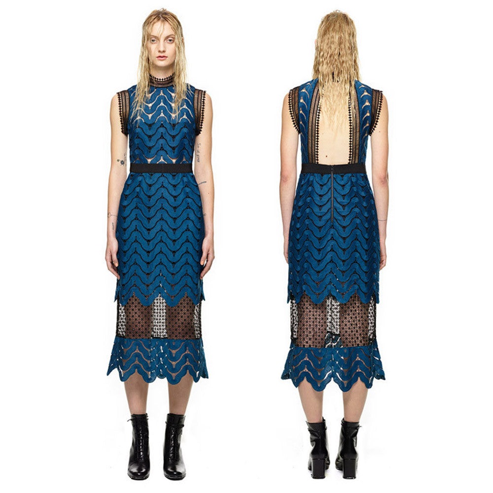 Lace Mesh Patchwork  Dress