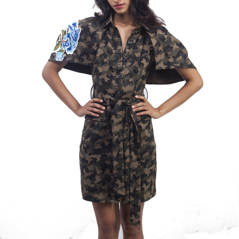 Camo Cape Sleeve Dress