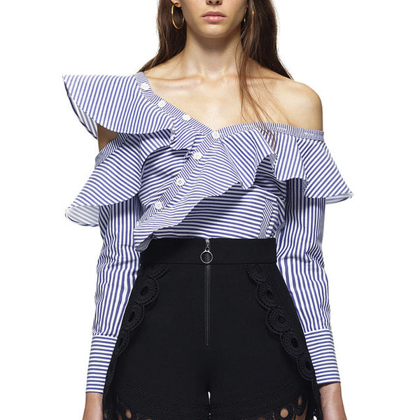 One shoulder Striped  Ruffles Blouse