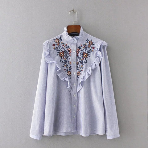 Embroidery Striped Blouse