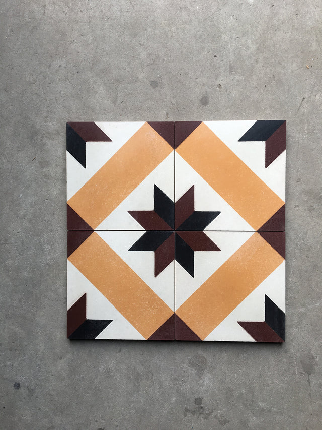 Cement Tile - Antique Greek Duo Star Tangerine