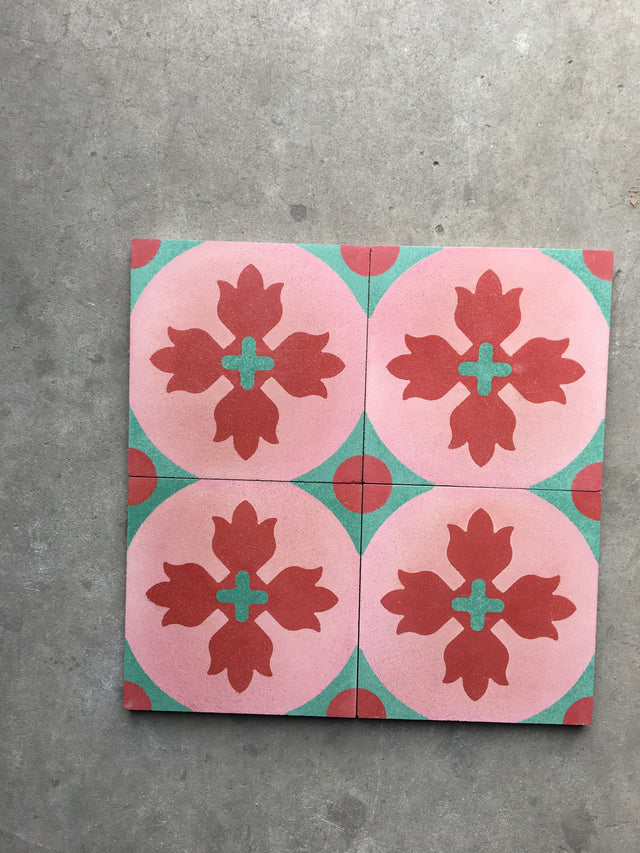 Cement Tile - Fiery Flower