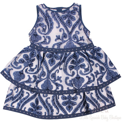 Pan Con Chocolate Embroidered Pattern Dress Blue