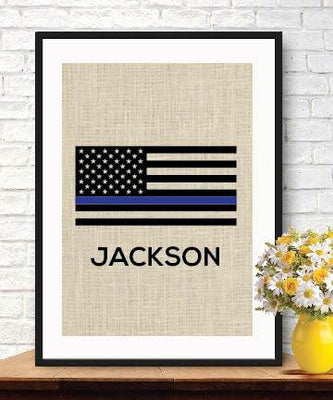 Thin Blue Line Flag, Personalized Police Officer Gift, American Flag, Burlap Print, Retirement Gift - BOSTON CREATIVE COMPANY