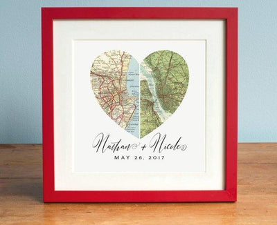 Anniversary Gift, Wedding Gift Art, Heart Map, Custom Wedding Gift, Anniversary Print, Gift for Couple, Wedding Map Art - BOSTON CREATIVE COMPANY