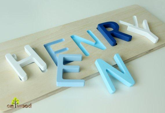 Wooden Name Puzzle 1st Birthday Gift Baby Shower Gift