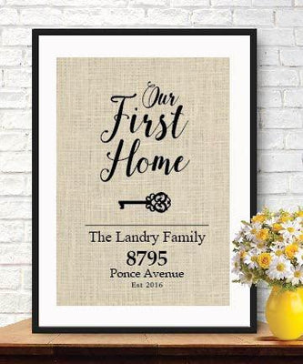 Elegant Gifts for House Warming | New Home Housewarming Gift | Our First Home Burlap Print - BOSTON CREATIVE COMPANY