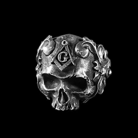 Skull With Square & Compasses Masonic Ring