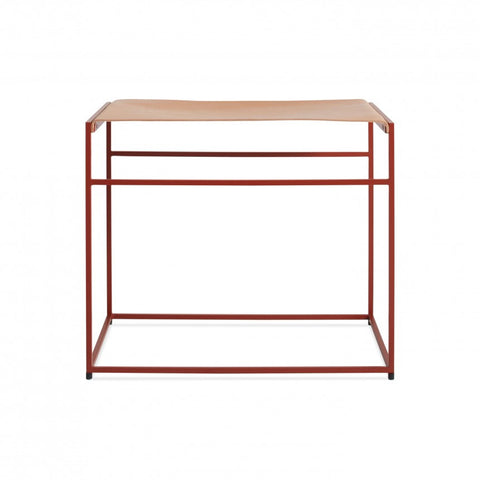 Blu Dot Red Common Leather Stool - Matthew Izzo Home
