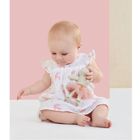 Muslin Pink Unicorn Dress